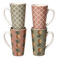 Certified International Floridian Ceramic 16-ounce Latte Mug (Set of 4)
