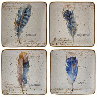 Certified International Indigold Feathers Blue and White Ceramic 8.5-inch Dessert Plates (Pack of 4 Assorted Designs)