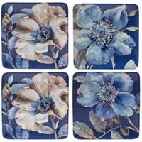 Certified International Indigold Flower Blue Ceramic Dessert Plates (Set of 4)