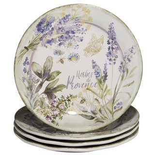 Certified International Herbes de Provence White and Purple Ceramic 11-inch Dinner Plates (Pack of 4)