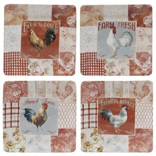 Certified International Farm House Ceramic 10.5-inch Dinner Plates (Set of 4 Assorted Designs)