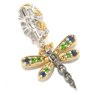 Michael Valitutti Palladium Silver Chrome Diopside & Blue Sapphire Dragonfly Drop Charm