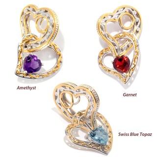 Michael Valitutti Palladium Silver Heart Shaped Gemstone Double Heart Drop Charm