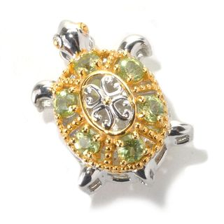Michael Valitutti Palladium Silver Peridot Double-Sided Turtle Charm