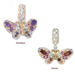 Michael Valitutti Palladium Silver Multi Gemstone Fluttering Butterfly Drop Charm