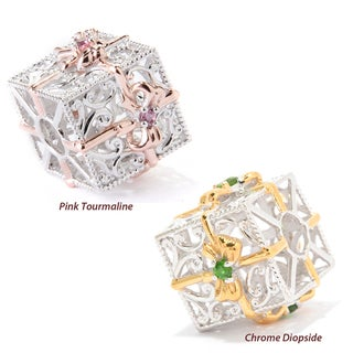 Michael Valitutti Palladium Silver Pink Tourmaline or Chrome Diopside Gift Box Slide-on Charm