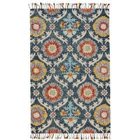 Grand Bazaar Blue Ocean Tufted Calendra Rug - 5' x 8'