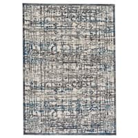 Grand Bazaar Gray / Turquoise Machine Made Plaza Rug (5' x 8') - 5' x 8'