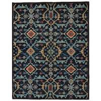 "Grand Bazaar Blue Hand Knotted Bashyr Rug (5' 6 x 8' 6) - 5'-6"" x 8'-6"""