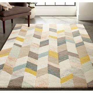 Grand Bazaar Binada Gray/Gold Geometric Tufted Wool 5 x 8 Area Rug - 5' x 8'