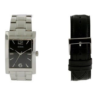 Guess Box Set Men's W0506G1 Stainless Steel Watch with Interchangeable Leather Strap