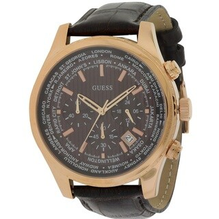 Guess Men's W0500G3 Leather Chronograph Watch