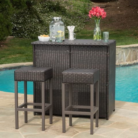 Toronto Outdoor 3-piece Wicker Bar Island Set by Christopher Knight Home