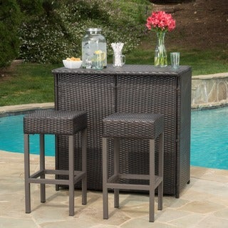 Link to Toronto Outdoor 3-piece Wicker Bar Island Set by Christopher Knight Home Similar Items in Outdoor Coffee & Side Tables