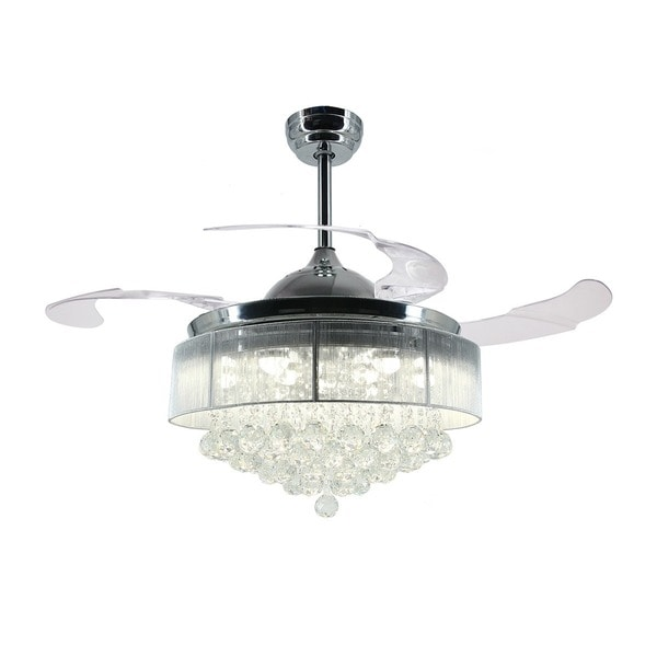 42-inch Retractable LED Blades Fandelier Chrome Ceiling Fan