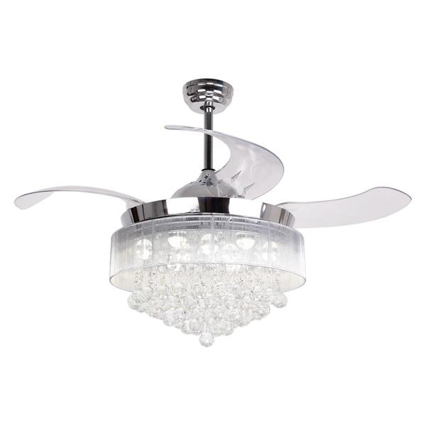 42-inch Retractable LED Blades Fandelier Chrome Ceiling Fan