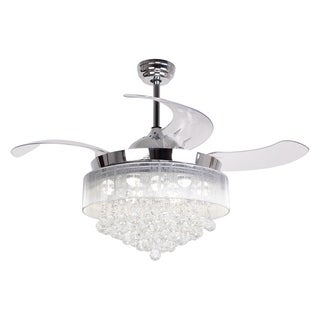 Modern Chrome Crystal LED Ceiling Fan with Foldable Blades