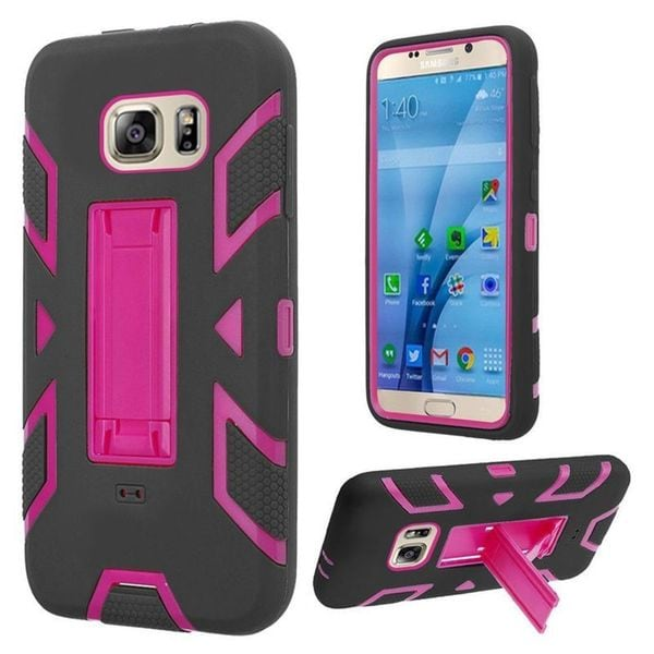 Insten Soft Silicone/ PC Dual Layer Hybrid Rubber Case Cover with Stand For Samsung Galaxy S7