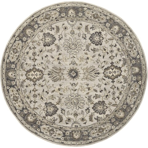 Grand Bazaar Botticino Gray Round Area Rug - 8' x 8' Round