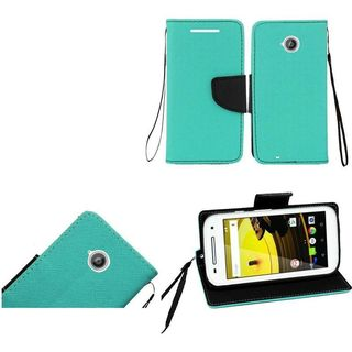 Insten Leather Case Cover Lanyard with Stand/ Wallet Flap Pouch For Motorola Moto E (2nd Gen)