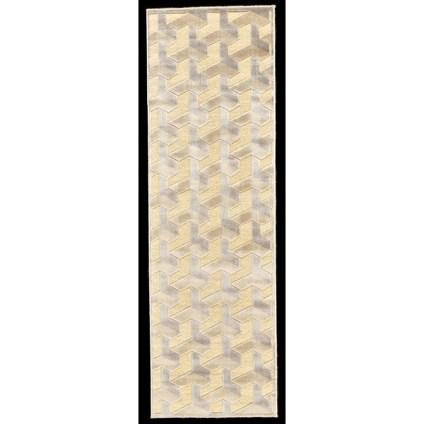 "Grand Bazaar Pellaro 554R-3253 Cream / Silver Runner/ Tread (2'6"" x 8') - 2'6 x 8'"