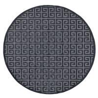 "Grand Bazaar Marne Black/ Charcoal Round Area Rug (7'6"" x 7'6"") - 7'6"