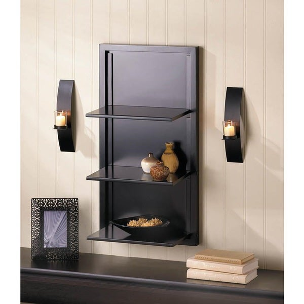 Transitional 3-tier Black Wall Display
