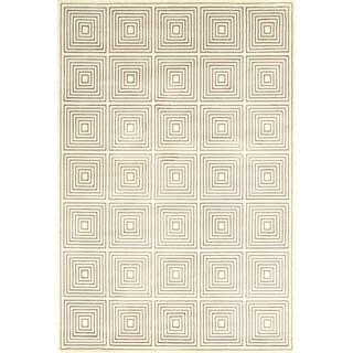 Grand Bazaar Machine Made Nahele Cream/Grey Wool/Viscose Rug (2'2 x 4')