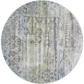 Grand Bazaar Mint/Taupe Machine-made Alessandria Round Rug (8' x 8')