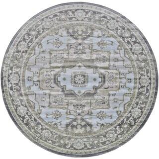 Grand Bazaar Alessandria Taupe/Castle Machine-made Round Rug (8' x 8')