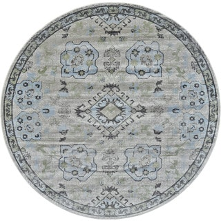 Grand Bazaar Alessandria Birch Blue/Sterling Grey Polypropylene Machine-made Rug (8' x 8')