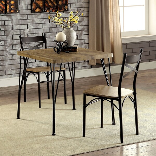 furniture of america hathway industrial 3 piece dark bronze compact dining set - Dark Dining Room Table