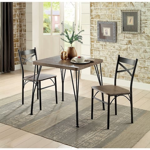Furniture of America Zath Industrial 3-piece Metal Compact Dining Set