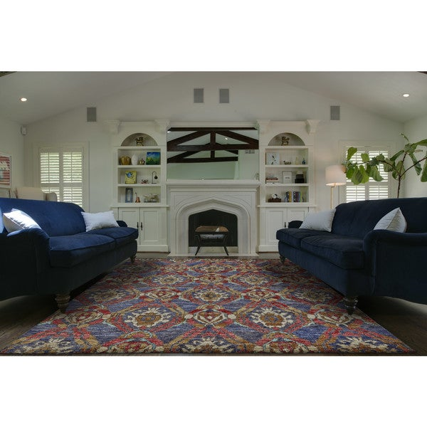 Grand Bazaar Hand Knotted Ramla Navy and Multicolored Jute Rug (2' x 3')
