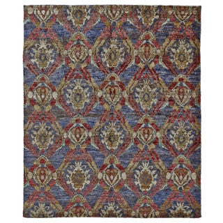 Grand Bazaar Hand Knotted Ramla Navy and Multicolored Jute Rug (2'x3')