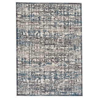 "Grand Bazaar Plaza Gray / Turquoise Runner/ Tread (2'10"" x 7'10"") - 3' x 8'"