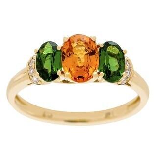 14K Yellow Gold Mandarin Garnet, Tsavorite and Diamond Ring by Anika and August