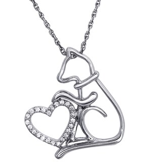 ASPCA Tender Voices Cat and Heart Diamond Accent Pendant in Sterling Silver
