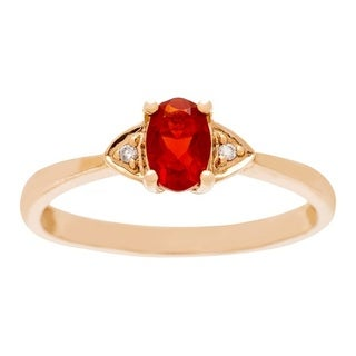 Anika and August 14k Rose Gold Fire Opal and Diamond Accent Ring