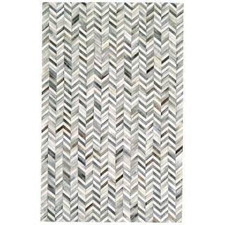 Grand Bazaar Slate-colored Leather Zenna Rug (2' x 3') - 2' x 3'