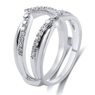 14k White Gold 1/2ct TDW White Diamond Guard Ring (I-J, I1-I2)