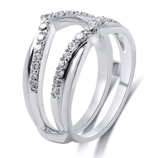 14k White Gold 1/2cttw White Diamond Guard Ring