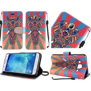 Insten Orange/ Blue Elephant Leather Case Cover Lanyard with Stand/ Diamond For LG Stylo 2/ Stylus 2