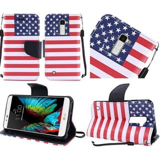 Insten Blue/ Red US National Flag Leather Case Cover Lanyard with Stand For LG K10