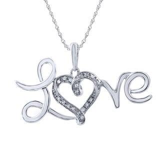 Sterling Silver Diamond Heart Love Pendant (I-J, I2-I3)