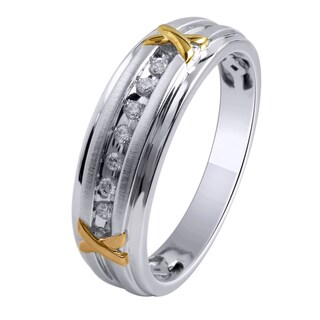 Sterling Silver, Yellow Gold Plate Men's 1/6ct TDW White Diamond Wedding Band