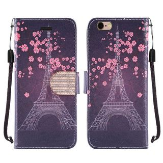 Insten Eiffel Tower Leather Case Cover Lanyard with Stand/ Diamond For Apple iPhone 6/ 6s