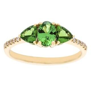 Anika and August 14k Yellow Gold Tsavorite and Diamond Accent Ring