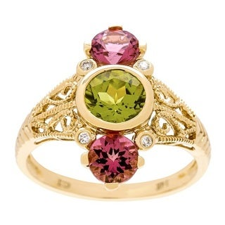Anika and August 14k Yellow Gold Peridot, Pink Tourmaline and Diamond Accent Ring