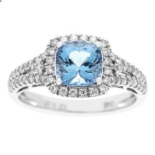 Anika and August 14k White Gold Aquamarine and 1/2ct TDW Diamond Ring (G-H, I1-I2)